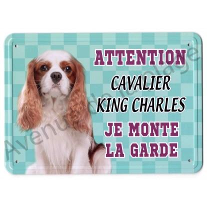 Pancarte métal Attention au chien - Cavalier King Charles Blenheim