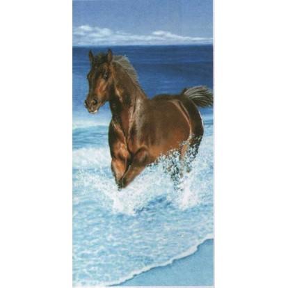 """Serviette de plage """"Cheval dans la mer"""""""