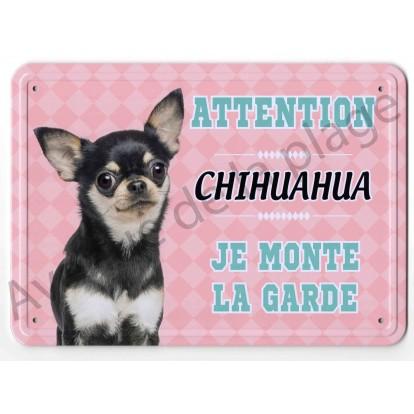 Pancarte métal Attention au chien - Chihuahua Tricolore