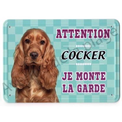 Pancarte métal Attention au chien - Cocker feu