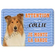 Pancarte métal Attention au chien - Collie