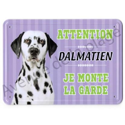 Pancarte métal Attention au chien - Dalmatien