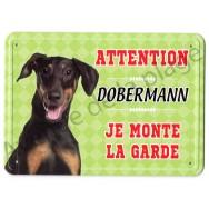 Pancarte métal Attention au chien - Dobermann