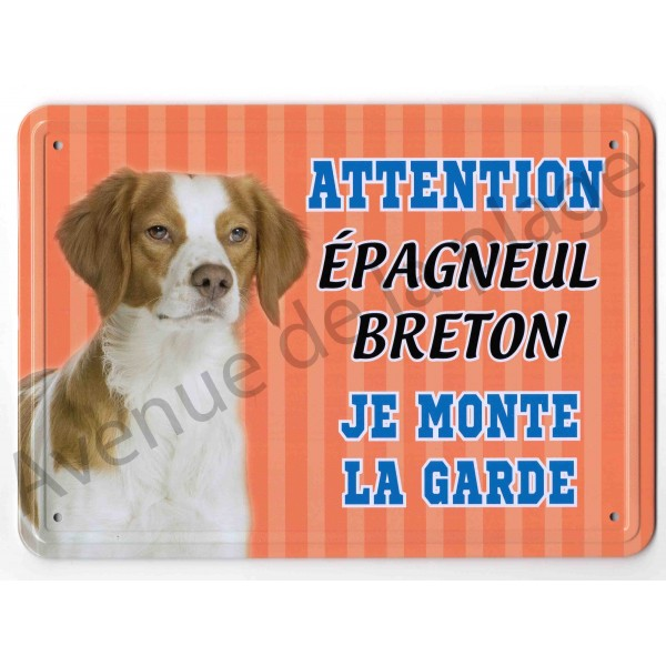 pancarte m tal attention au chien pagneul breton. Black Bedroom Furniture Sets. Home Design Ideas