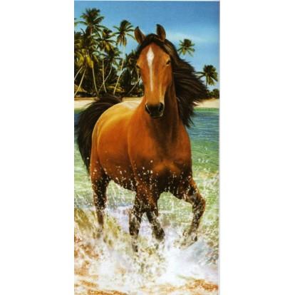 """Serviette de plage """"Cheval qui coure dans l'eau"""""""