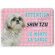 Pancarte métal Attention au chien - Shih Tzu