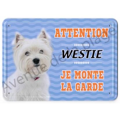 Pancarte métal Attention au chien - Westie