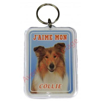 Porte clé J'aime mon chien - Collie