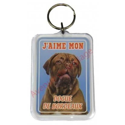 Porte clé J'aime mon chien - Dogue de Bordeaux