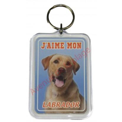 Porte clé J'aime mon chien - Labrador Jaune