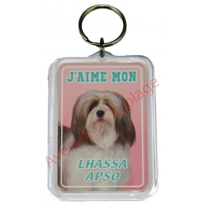 Porte clé J'aime mon chien - Lhassa Apso