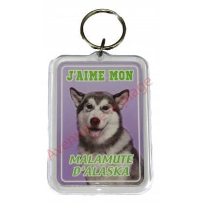 Porte clé J'aime mon chien - Malamute d'Alaska