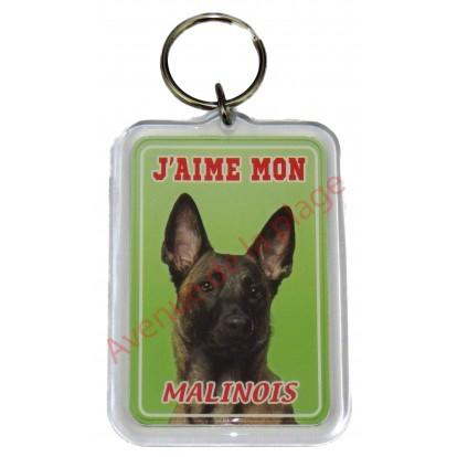 Porte clé J'aime mon chien - Malinois
