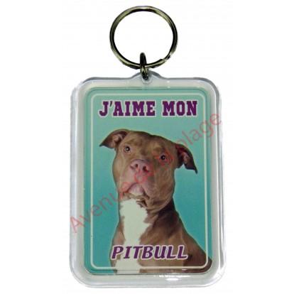 Porte clé J'aime mon chien - Pitbull