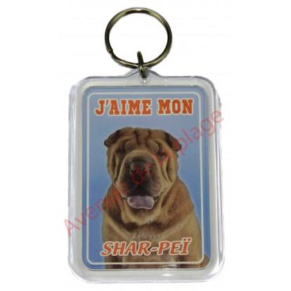 Porte clé J'aime mon chien - Shar-Peï