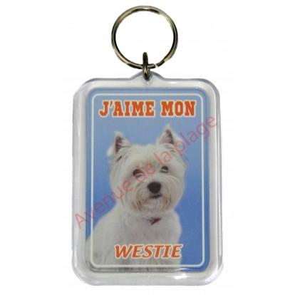 Porte clé J'aime mon chien - Westie