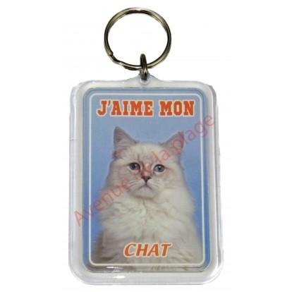 Porte clé J'aime mon chat blanc