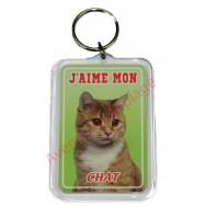Porte clé J'aime mon chat roux