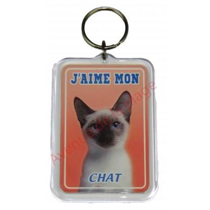 Porte clé J'aime mon chat siamois