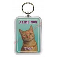 Porte clé J'aime mon chat gingembre