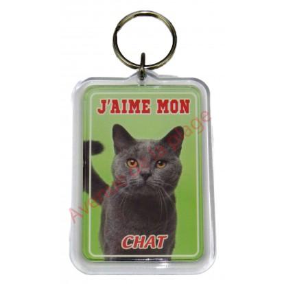 Porte clé J'aime mon chat gris