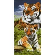 """Serviette de plage """"Tigre et son petit"""""""