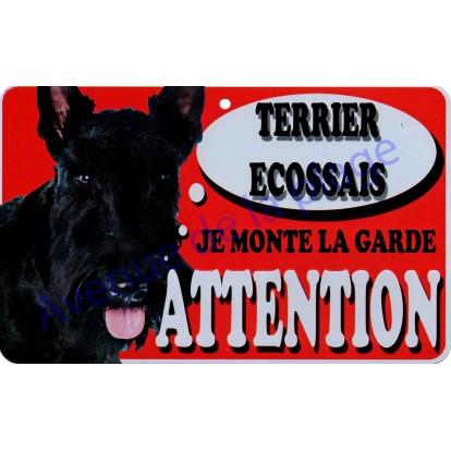 Plaque Attention Je monte la garde - Terrier Écossais