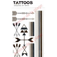 Tatouage doré temporaire flèches et bracelets Maya