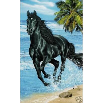 """Serviette de plage """"Cheval noir sur la plage"""""""