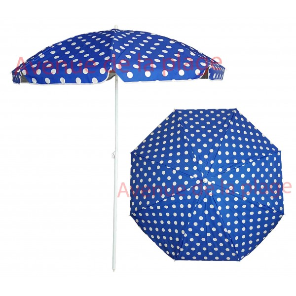 parasol de plage anti uv 50 bleu pois blancs 180 cm. Black Bedroom Furniture Sets. Home Design Ideas