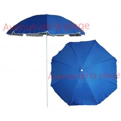 Parasol de plage anti UV 50+ bleu doublé 200 cm