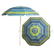 Parasol de plage anti UV 50 + à pois et rayures 180 cm