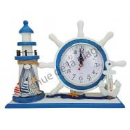 Horloge gouvernail et phare décoratif