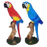 Statuette perroquet posé sur une branche 30 cm