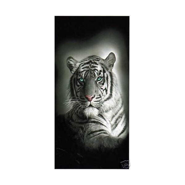 serviette de plage tigre blanc pas cher achat vente. Black Bedroom Furniture Sets. Home Design Ideas