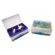 Boîte cri de mouette : Paysage marin et voilier
