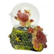 Boule à neige tortue de mer marron et corail