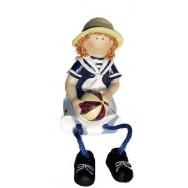 Statuette enfant en habits marins 11 cm : la petite fille avec un ballon