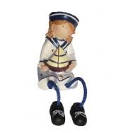 Statuette enfant en habits marins 11 cm : la petite fille avec un bateau