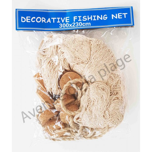 Filet de p che corde 230 x 300 cm flotteurs d co marine for Filet de peche decoration