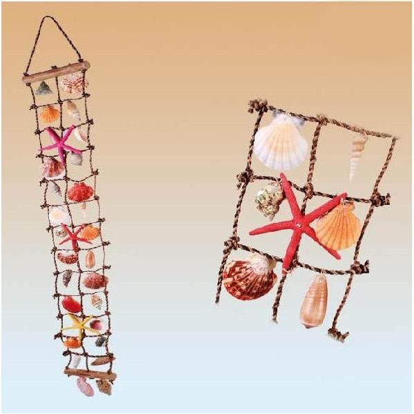 Filet de p che d coratif coquillages 118 cm d coration for Filet de peche decoration