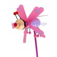 Éolienne déco abeille rose en bois 7.5 cm