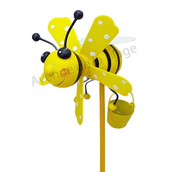 Moulin vent abeille d co en bois 7 5 cm d co pot de fleur for Moulin a vent jardin