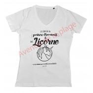 """T-shirt humoristique femme """"Recherche Prince Charmant et licorne"""""""