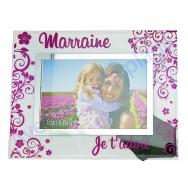 """Cadre photo en verre """"Marraine je t'adore"""""""