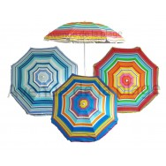 Parasol de plage anti UV multicolore 200 cm
