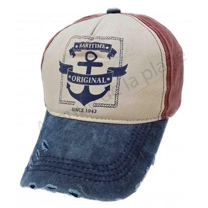 Casquette Maritime Original style usée bleue et rouge A