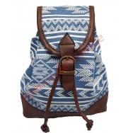 Mini sac à dos Aztèque bleu et blanc