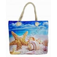 Sac de plage étoile de mer et coquillages