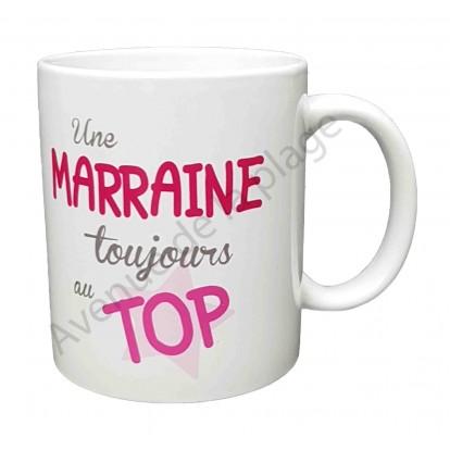 """Mug cadeau """"Marraine au top"""""""